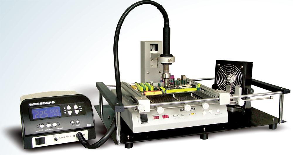 Экономичный паяльно-ремонтный BGA комплекс QUICK 855 (QUICK855PG+QUICK855T+рамка-держатель+вентилятор)